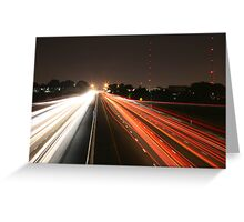 Night Time Travel Light Trails Greeting Card