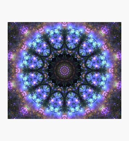 The Dark Forest I - Blue, Green, Purple Kaleidoscope Photographic Print