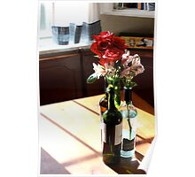 Wine bottle vases with grocery store flowers Poster