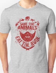 save the animals, eat the rude (red) Unisex T-Shirt