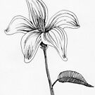 ink flower drawing by ArtLuver