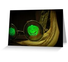 Spooky Halloween Pumpkin Hologram Specs Greeting Card