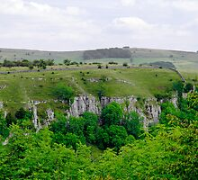 Across Cressbrook Dale to Ravens Crag by Rod Johnson