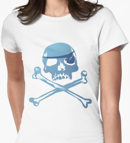 Blue Pirate Skull and Crossbones. Womens Fitted T-Shirt