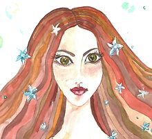 Hand drawn water color illustration of beauty girl with long hair. by TrishaMcmillan