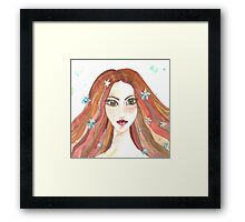 Hand drawn water color illustration of beauty girl with long hair. Framed Print