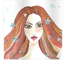 Hand drawn water color illustration of beauty girl with long hair. Poster