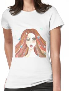 Hand drawn water color illustration of beauty girl with long hair. Womens Fitted T-Shirt
