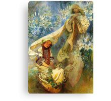 Alphonse Mucha - Madonna of the lilies Canvas Print