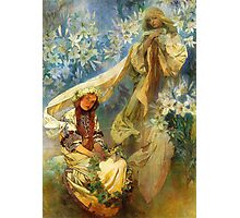 Alphonse Mucha - Madonna of the lilies Photographic Print