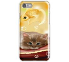 CAT WITH FISH iPhone Case/Skin