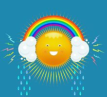 FUNNY SUN IN THE HEADPHONES OF THE RAINBOW. by MrMaster