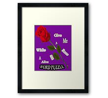 Word Puzzle - Rose Framed Print