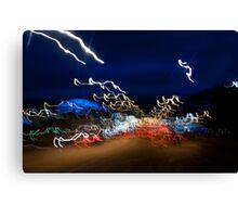 Cars driving motion night lights Canvas Print