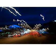 Cars driving motion night lights Photographic Print