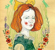 Redhead girl with bow on her head,watercolor illustration by Olga Drozdova