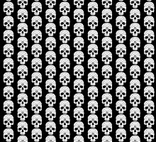 White Ouija Skull on Black Background by Danielle Stanborough