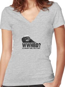 WWHBD - black text Women's Fitted V-Neck T-Shirt