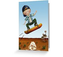 Skateboard jumps over sheep Greeting Card