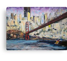 Golden City, Red Bridge, No Gate Canvas Print