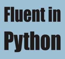 Fluent in Python - Black on Blue for Python Programmers Kids Tee