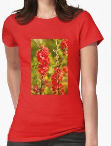 Chaenomeles shrub red flowering Womens Fitted T-Shirt