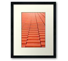 Overlapping red new tiles roof Framed Print