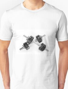 Crossed chrome hand barbells T-Shirt