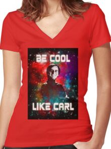 Be Cool Like Carl Women's Fitted V-Neck T-Shirt