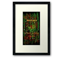 Hacker 1.1 - Knowledge is Freedom skull and matrix - Software, coding and hacking designs Framed Print