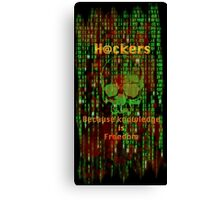 Hacker 1.1 - Knowledge is Freedom skull and matrix - Software, coding and hacking designs Canvas Print
