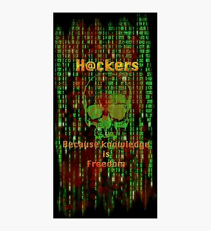 Hacker 1.1 - Knowledge is Freedom skull and matrix - Software, coding and hacking designs Photographic Print