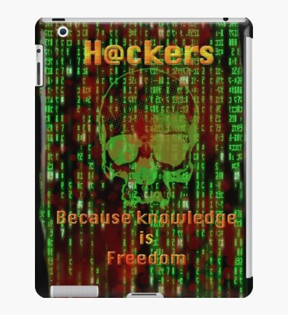 Hacker 1.1 - Knowledge is Freedom skull and matrix - Software, coding and hacking designs iPad Case/Skin