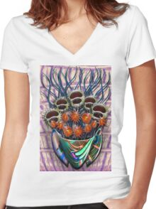 Reflector Flowers in the Wall Vase Women's Fitted V-Neck T-Shirt