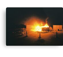Car on fire Canvas Print