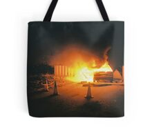 Car on fire Tote Bag