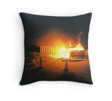 Car on fire Throw Pillow