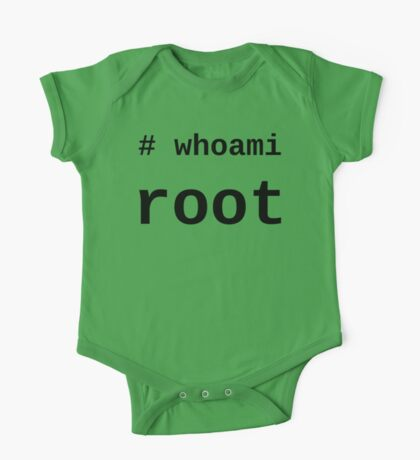 whoami root - Black on White for System Administrators One Piece - Short Sleeve