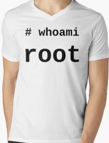 whoami root - Black on White for System Administrators Mens V-Neck T-Shirt