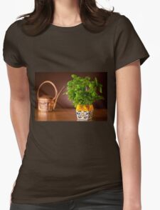 basil plant in decorative flowerpot Womens Fitted T-Shirt
