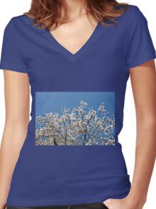 White Magnolia blossoms bunch Women's Fitted V-Neck T-Shirt