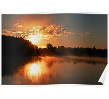 Church, sunrise and fog in the lake Poster