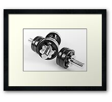 Chrome screwed hand barbells weights Framed Print