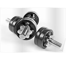 Chrome screwed hand barbells weights Poster
