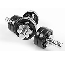 Chrome screwed hand barbells weights Photographic Print