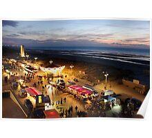 Night market at De Panne in Belgium Poster