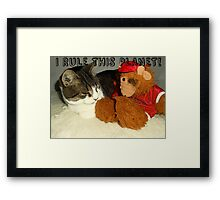 """I Rule This Planet"" Cat Vs Alf Puppet Framed Print"