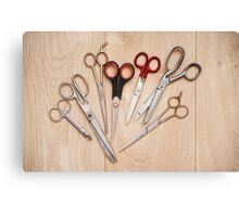 scissors bunch lying on board Canvas Print