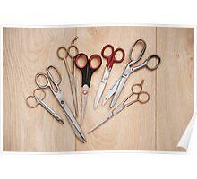 scissors bunch lying on board Poster