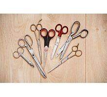 scissors bunch lying on board Photographic Print